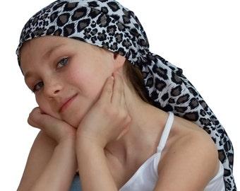 Ava Joy Children's Pre-Tied Head Scarf, Girl's Cancer Headwear, Chemo Head Cover, Alopecia Hat, Head Wrap, for Hair Loss - White Cheetah