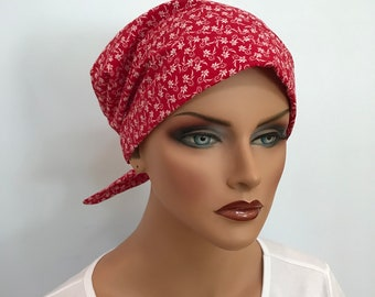 Sandra Women's Surgical Scrub Cap, Chemo Hat, Cancer Scarf, Alopecia Head Wrap, Head Cover, Cancer Gift, Hair Loss, Red Flowers
