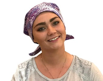 Sandra Women's Surgical Scrub Cap, Chemo Hat, Cancer Scarf, Alopecia Head Wrap, Head Cover, Cancer Gift, Hair Loss, Purple Swirls