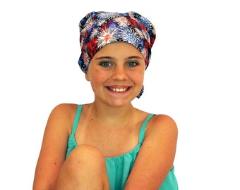 Child's Head Scarf, Girl's Chemo Hat, Cancer Headwear, Alopecia Head Cover, Head Wrap, Cancer Gift for Hair Loss Gift, Chemo Gift, Fireworks