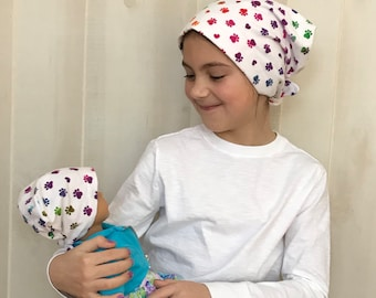 Twin Head Scarves, Jaye Flannel Child's Head Scarf And Matching Shiri Doll Hat, Cancer Gift, Chemo, Cancer, Alopecia, Hair loss, Paws