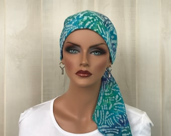 Pre-Tied Head Scarf For Women With Hair Loss. Cancer Headwear, Chemo Hat, Alopecia Head Cover, Hair Wrap, Turban, Head Wrap, Blue Tie Dye