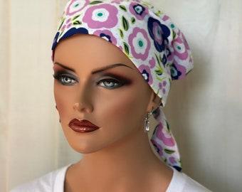 Women's Surgical Scrub Cap, Scrub Hat, Cancer Head Scarf, Chemo Headwear, Alopecia Head Cover, Head Wrap, Cancer Gift, Pink Blue Floral