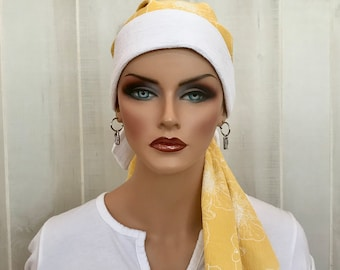 Pre-Tied Head Scarf For Women With Hair Loss. Cancer Headwear, Chemo Head Cover, Alopecia Hat, Head Wrap, Turban, Cancer Gift, Yellow Floral