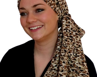 Pre-Tied Head Scarf, Women's Cancer Headwear, Chemo Head Cover, Alopecia Hat, Head Wrap, Hair Loss, Cancer Gift, Chemo Gift, Mocha Brown