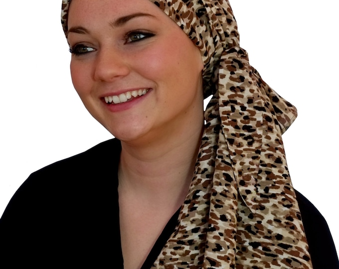 Featured listing image: Carlee Pre-Tied Head Scarf,  Women's Cancer Headwear, Chemo Scarf, Alopecia Hat, Head Wrap, Head Cover for Hair Loss - Mocha Delight