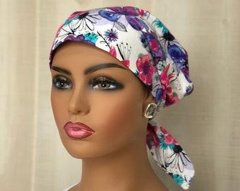 Women's Surgical Scrub Cap, Scrub Hat, Cancer Head Scarf, Chemo Headwear, Alopecia Head Cover, Head Wrap, Cancer Gift, Pink Purple Floral