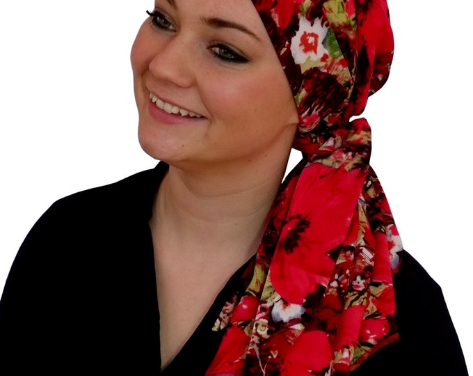 Featured listing image: Carlee Pre-Tied Head Scarf, Women's Cancer Headwear, Chemo Scarf, Alopecia Hat, Head Wrap, Head Cover for Hair Loss - Red Floral