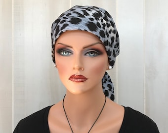 Women's Head Scarf, Cancer Headwear, Chemo Hat, Alopecia Head Wrap, Head Cover, Hair Loss, Cancer Gift, Chemo Gift, Gray Animal Print
