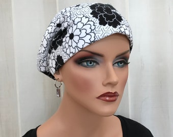Women's Flannel Head Scarf, Cancer Headwear, Chemo Hat, Alopecia Head Cover, Head Wrap, Hair Loss, Cancer Gift, Black and White Flowers
