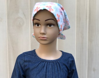 Children's Flannel Head Scarf, Girl's Cancer Headwear, Chemo Hat, Alopecia Head Cover, Head Wrap, Cancer Gift, Hair Loss, Small Butterflies