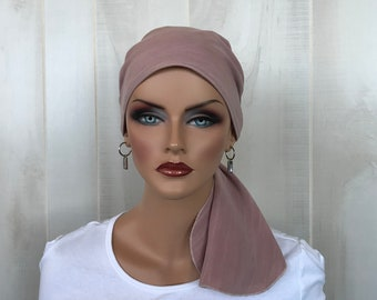 Pre-Tied Head Scarf For Women With Hair Loss. Cancer Headwear, Chemo Hat, Alopecia Head Cover, Hair Wrap, Head Wrap, Turban, Dusty Rose