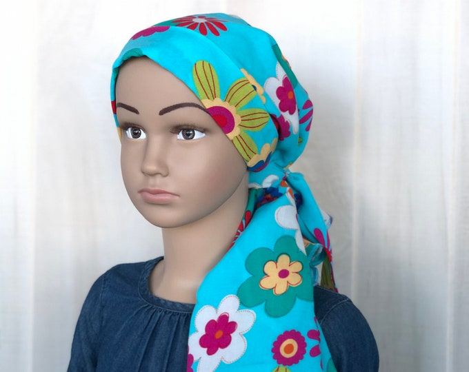 Featured listing image: Child's Pre-Tied Head Scarf, Girl's Chemo Hat, Cancer Head Cover, Alopecia Headwear, Head Wrap, Cancer Gift, Hair Loss,  Blue Green Flowers