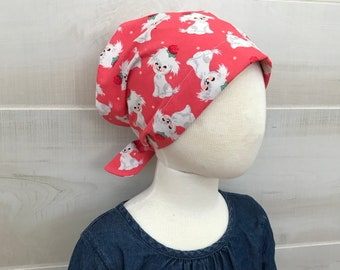 Children's Head Scarf, Girl's Chemo Hat, Cancer Headwear, Alopecia Head Cover, Head Wrap, Cancer Gift for Hair Loss, White Pink Puppies