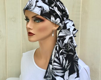 Pre-Tied Head Scarf For Women With Hair Loss. Cancer Headwear, Chemo Head Cover, Alopecia Hat, Head Wrap, Turban, Tropical Black Flowers