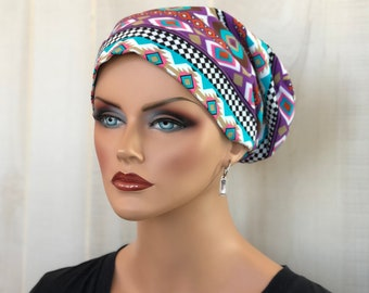 Head Scarf For Women With Hair Loss. Cancer Headwear, Chemo Hat, Alopecia Head Wrap, Hair Wrap, Head Cover, Turban, Southwestern Purple