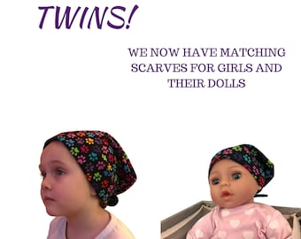 Twin Head Scarves, Mia Child's Head Scarf, Shiri Doll Hat, Cancer Gift, Chemo Hat, Cancer Head Wrap, Alopecia, Hair loss, Paws On Black