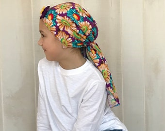 Child's Pre-Tied Head Scarf, Girl's Chemo Hat, Cancer Head Cover, Alopecia Headwear, Head Wrap, Cancer Gift, Hair Loss, Purple Sunflowers