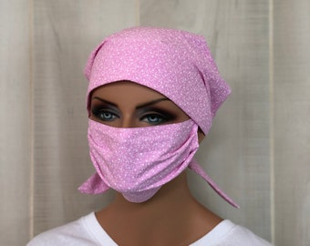 Scrub Cap Women, Face Mask, Nurse Gift, Scrub Hats, Pink Vines