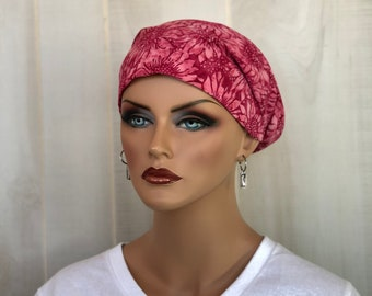Head Scarf For Women With Hair Loss. Cancer Headwear, Chemo Hat, Alopecia Head Wrap, Hair Wrap, Head Cover, Turban, Red Pink Sunflowers