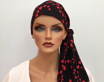 Pre-Tied Head Scarf For Women With Hair Loss. Cancer Headwear, Chemo Head Cover, Alopecia Hat, Head Wrap, Turban, Cancer Gift, Red Hearts