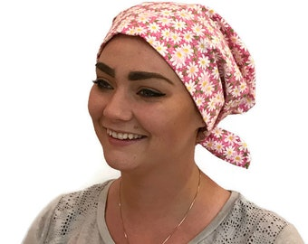Women's Surgical Scrub Cap, Scrub Hat, Cancer Head Scarf, Chemo Headwear, Alopecia Head Cover, Head Wrap, Cancer Gift, Pink Daisies