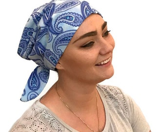 Sandra Women's Surgical Scrub Cap, Cancer Hat, Chemo Head Scarf, Alopecia Head Cover, Head Wrap, Headwear, Hair Loss - Blue Pailsey