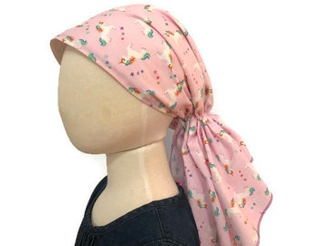 Ava Joy Girl's Pre-Tied Head Scarf, Cancer Hat, Chemo Head Cover, Alopecia Headwear, Head Wrap, Cancer Gift, Hair Loss, Rainbow Unicorns
