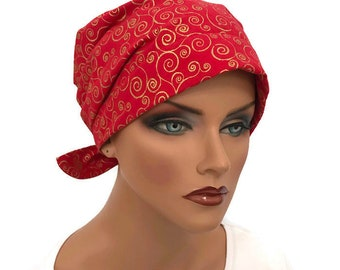 Sandra Women's Surgical Scrub Cap,Scrub Hat, Cancer Head Scarf, Chemo Hat, Alopecia Head Wrap, Cancer Gift, Hair Loss, Red and Gold Swirls