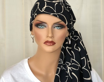 Pre-Tied Head Scarf For Women With Hair Loss. Cancer Headwear, Chemo Hat, Alopecia Head Cover, Hair Wrap, Head Wrap,  Navy Blue Floral