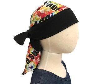 Jenna's Women and Girl's Doo Rag, Reversible Bandana, Chemo Hat, Cancer Headwear, Alopecia Scarf, Head Cover, Hair Loss, Cancer Gift Tie Dye