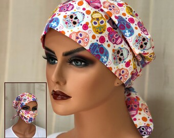 Scrub Caps For Women With Matching Face Mask, Nurse Graduation Gift, Sugar Skulls Scrub Hats