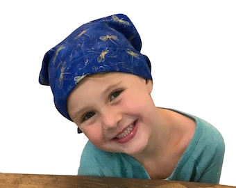 Children's Head Scarf, Girl's Chemo Hat, Cancer Headwear, Alopecia Head Cover, Head Wrap, Cancer Gift for Hair Loss Gift,  Blue Dragonfly