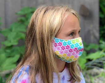 Washable Face Mask, Ages 5 - 12, Adjustable Elastic, Reusable Face Covering, Child Sizes, Rainbow Daisies