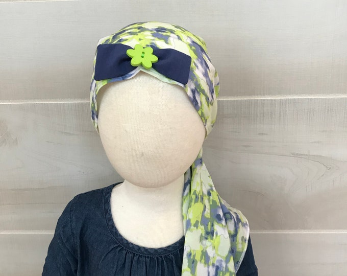 Featured listing image: Child's Pre-Tied Head Scarf, Girl's Chemo Hat, Cancer Head Cover, Alopecia Headwear, Head Wrap, Cancer Gift, Hair Loss, Blue Green Tie Dye