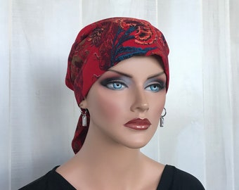 Head Scarf For Women With Hair Loss, Cancer Gifts, Chemo Headwear, Christmas Headwrap, Christmas Red Floral