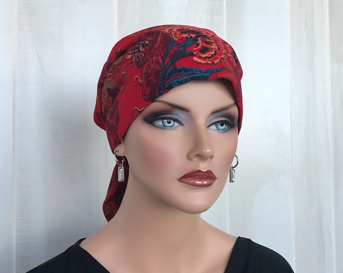 Featured listing image: Head Scarf For Women With Hair Loss. Cancer Headwear, Chemo Hat, Alopecia Head Wrap, Head Cover, Turban, Cancer Gift, Hair Wrap, Red Floral