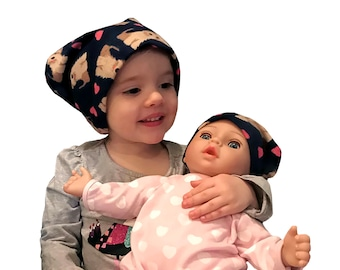 Twin Head Scarves, Jaye Child's Head Scarf And Shiri Doll Hat, Cancer Gift, Chemo Hat, Cancer Head Wrap, Alopecia, Hair loss, Navy Puppies