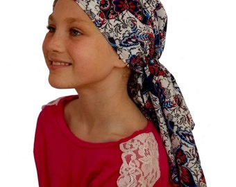 Ava Joy Children's Pre-Tied Head Scarf, Girl's Cancer Headwear, Chemo Head Cover, Alopecia Hat, Head Wrap, Hair Loss - Navy Butterflies