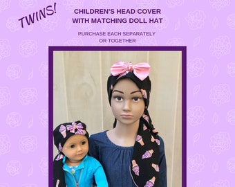 Matching Child's Head Scarf And Doll Hat For Girls With Hair Loss, Childhood Cancer, Chemo Hat, Cancer Gift, Alopecia,  Ice Cream