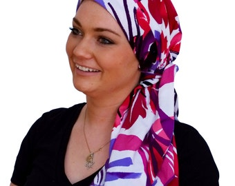 Pre-Tied Head Scarf, Women's Cancer Headwear, Chemo Head Cover, Alopecia Hat, Head Wrap, Hair Loss, Cancer Gift, Chemo Gift, Pink Tropics
