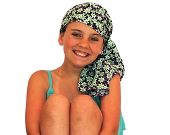 Ava Joy Children's Pre-Tied Head Scarf, Girl's Cancer Headwear, Chemo Head Cover, Alopecia Hat, Head Wrap for Hair Loss - Happy Flowers