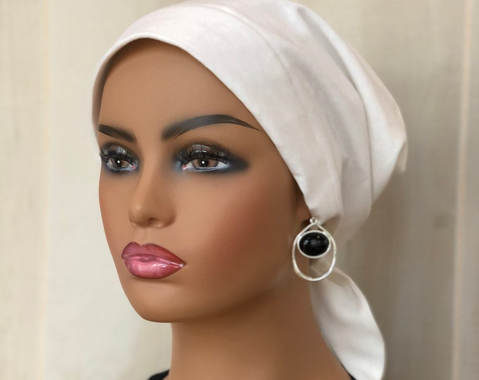 Featured listing image: Summer Head Wrap For Women With Hair Loss, Cancer Gifts, White Head Scarf