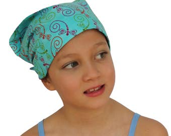 Children's Head Scarf, Girl's Chemo Hat, Cancer Headwear, Alopecia Head Cover, Head Wrap, Cancer Gift for Hair Loss Gift, Blue Dragonflies
