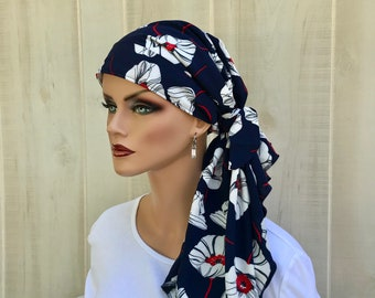 Pre-Tied Head Scarf For Women With Hair Loss. Cancer Headwear, Chemo Head Cover, Alopecia Hat, Head Wrap, Turban, Blue With White Flowers