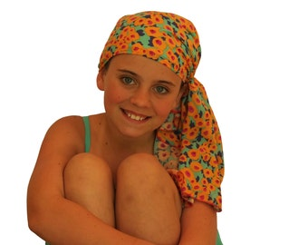 Ava Joy Children's Pre-Tied Head Scarf, Girl's Cancer Headwear, Chemo Head Cover, Alopecia Hat, Head Wrap for Hair Loss - Buttercups