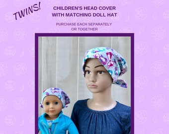 Shiri Children's Doll Head Scarf - Matching Doll Hat To Our Jaye Scarf, Hat, Head Cover, Cancer, Chemo, Alopecia, Hair Loss, Gray Foxes