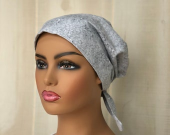 Women's  Scrub Cap, Nurse Gift, Scrub Hats, Gray White Floral