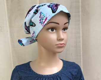 Children's Head Scarf, Girl's Chemo Hat, Cancer Headwear, Alopecia Head Cover, Head Wrap, Cancer Gift for Hair Loss Gift, Blue Butterflies