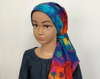 Child's Pre-Tied Head Scarf, Girl's Chemo Hat, Cancer Head Cover, Alopecia Headwear, Head Wrap, Cancer Gift, Hair Loss, Rainbow Hearts
